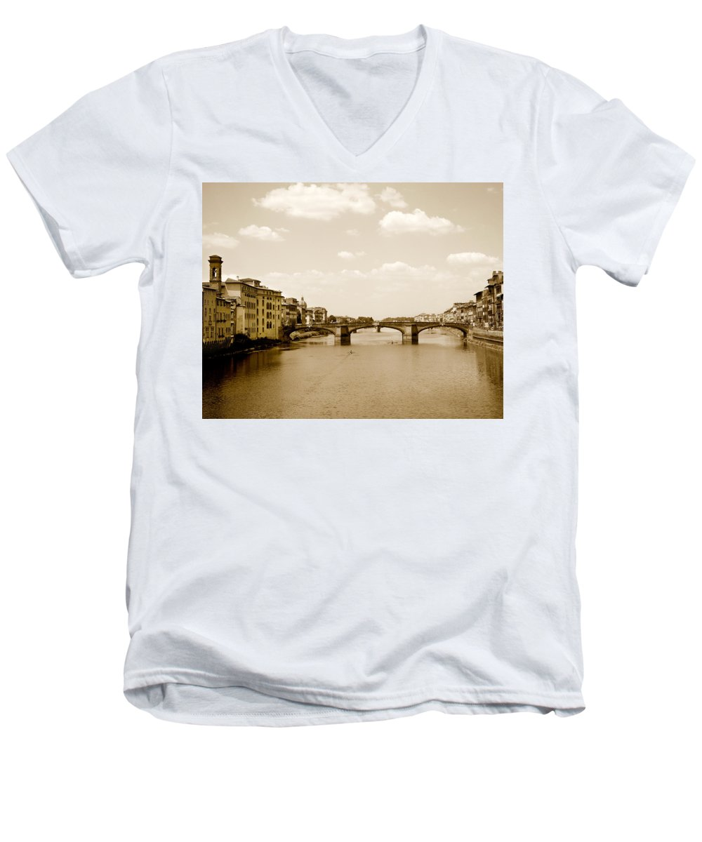 Italy Men's V-Neck T-Shirt featuring the photograph Arno River Florence by Marilyn Hunt