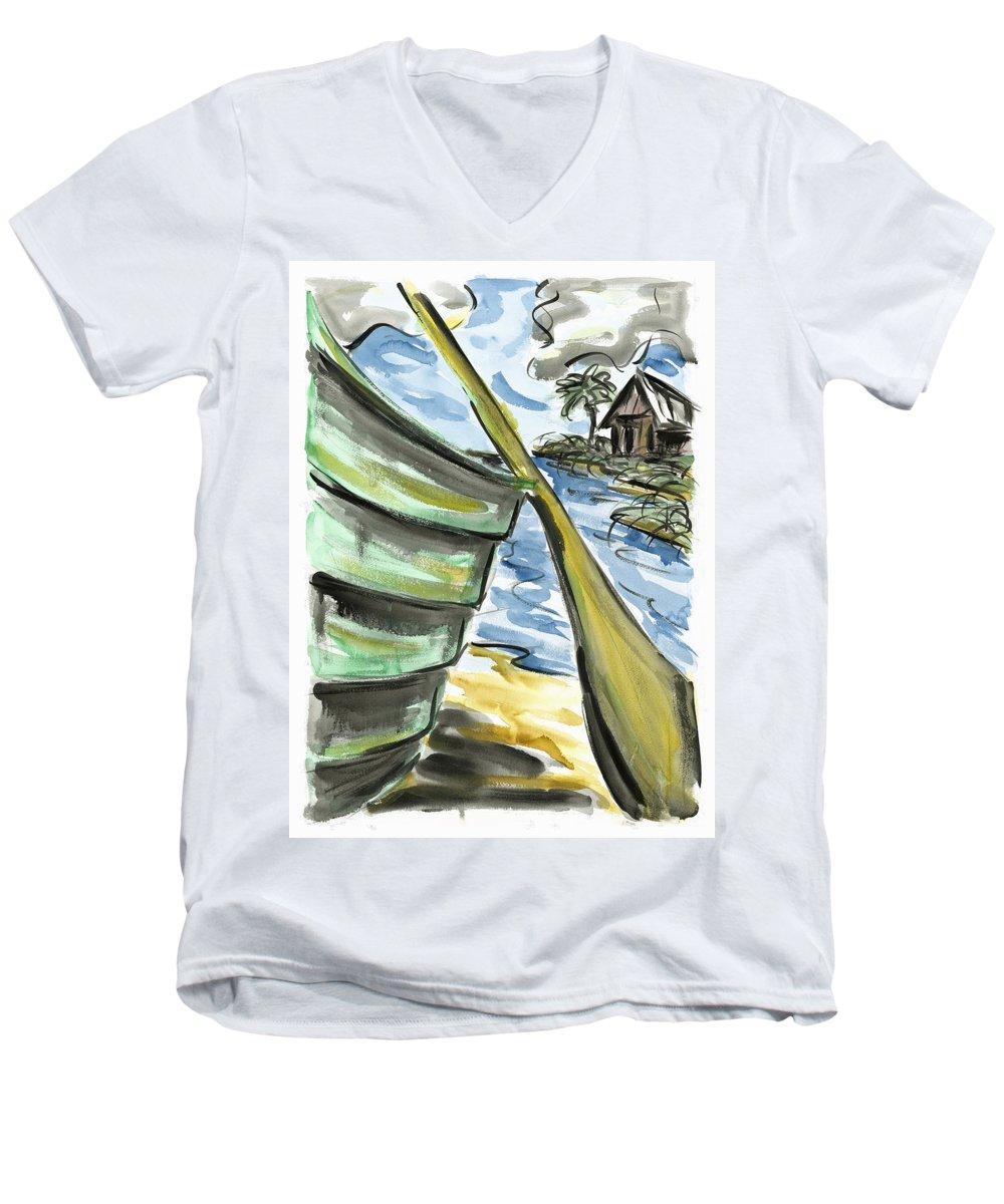 Seascape Men's V-Neck T-Shirt featuring the painting Ashore by Robert Joyner