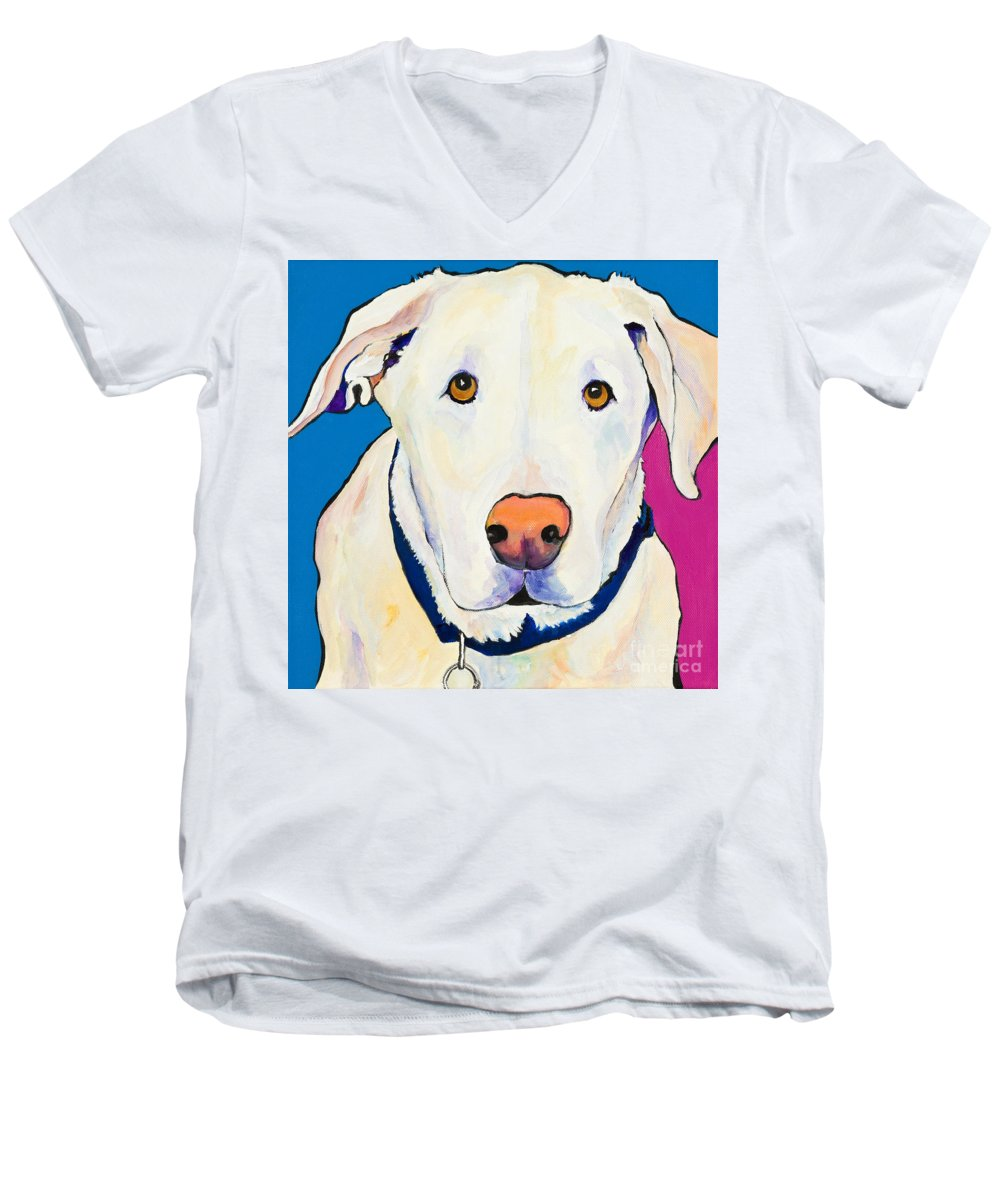 White Lab Yellow Lab Animal Paintings Golden Eyes Square Format Dogs Pets Rescued Men's V-Neck T-Shirt featuring the painting Aslinn by Pat Saunders-White