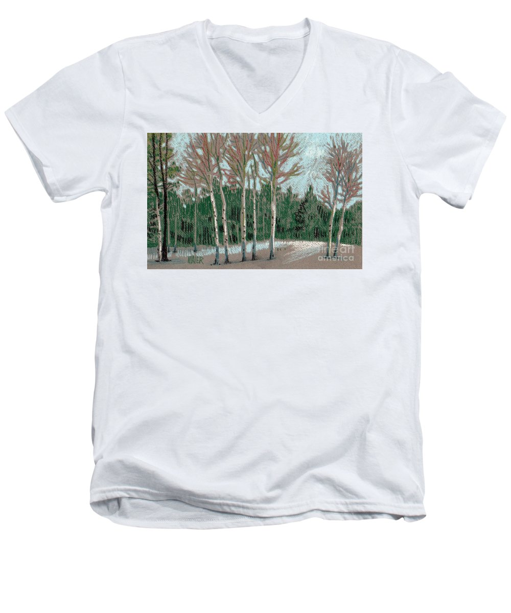 Aspens Men's V-Neck T-Shirt featuring the drawing Aspen In The Snow by Donald Maier