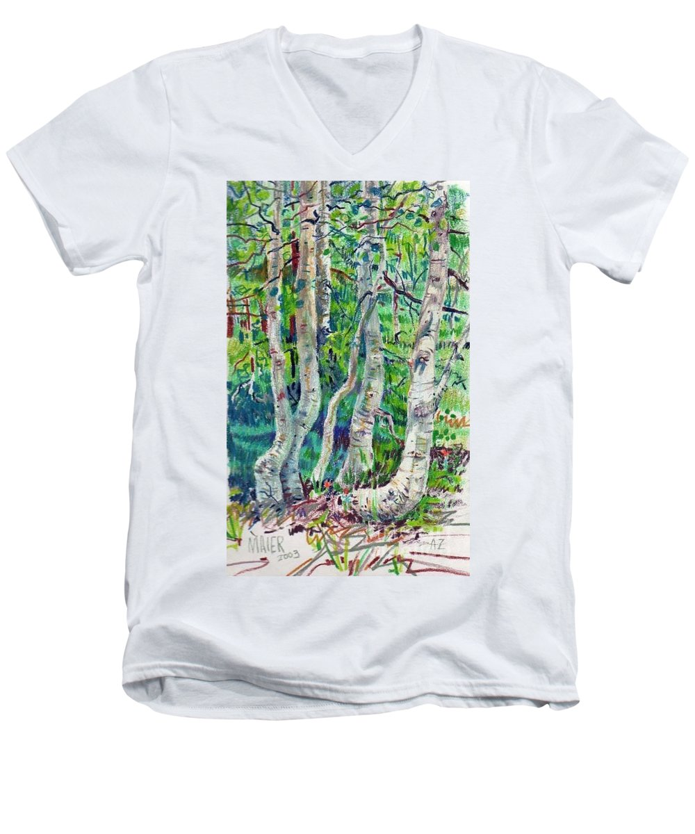 Aspens Men's V-Neck T-Shirt featuring the drawing Aspens by Donald Maier