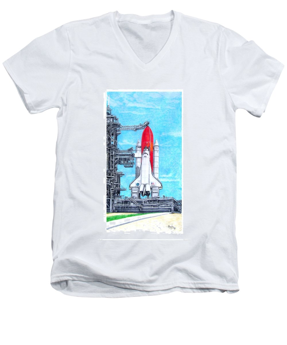 Drawing Men's V-Neck T-Shirt featuring the drawing Atlantis by Murphy Elliott