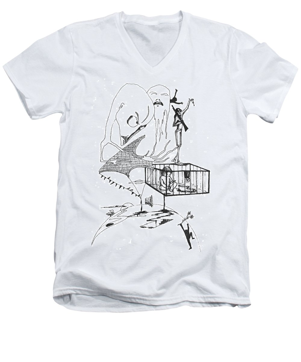Drawing Pen Automatism Men's V-Neck T-Shirt featuring the drawing Automatism by Veronica Jackson