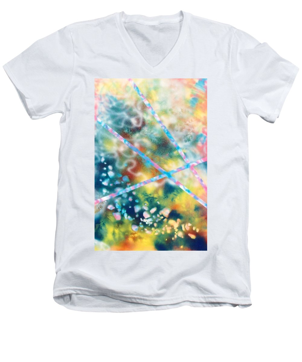 Abstract Men's V-Neck T-Shirt featuring the painting Autumn by Micah Guenther