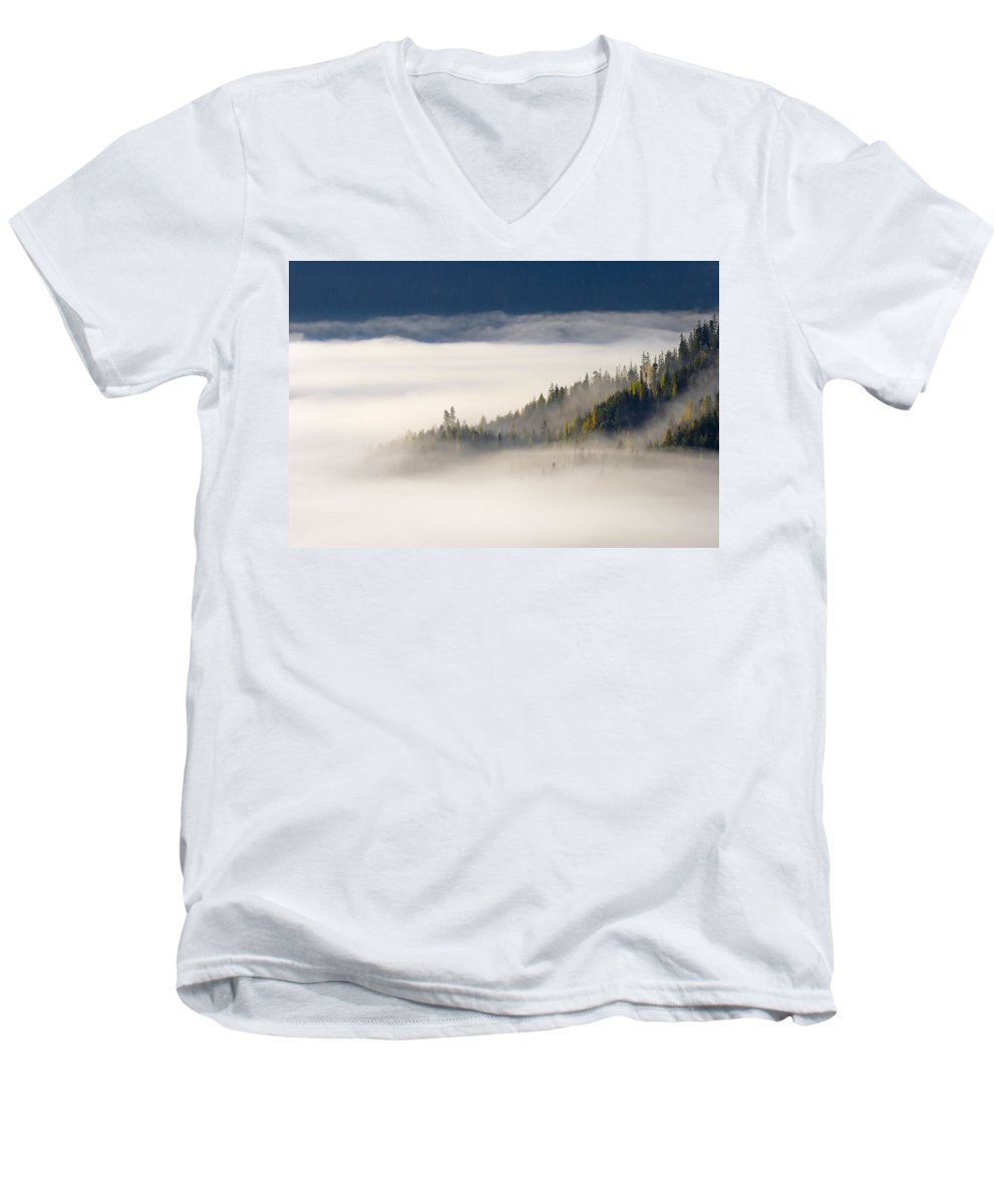 Fog Men's V-Neck T-Shirt featuring the photograph Autumn Morn by Mike Dawson