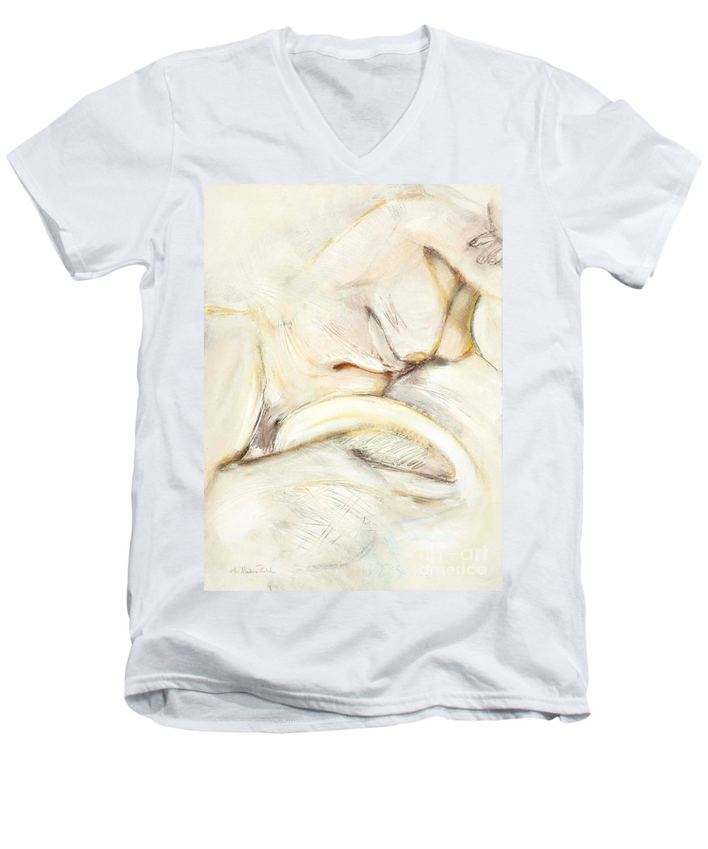 Female Men's V-Neck T-Shirt featuring the drawing Award Winning Abstract Nude by Kerryn Madsen-Pietsch