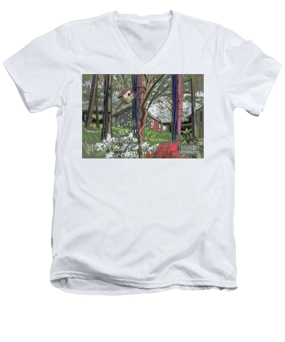 Azalea Men's V-Neck T-Shirt featuring the drawing Azaleas In Spring by Donald Maier