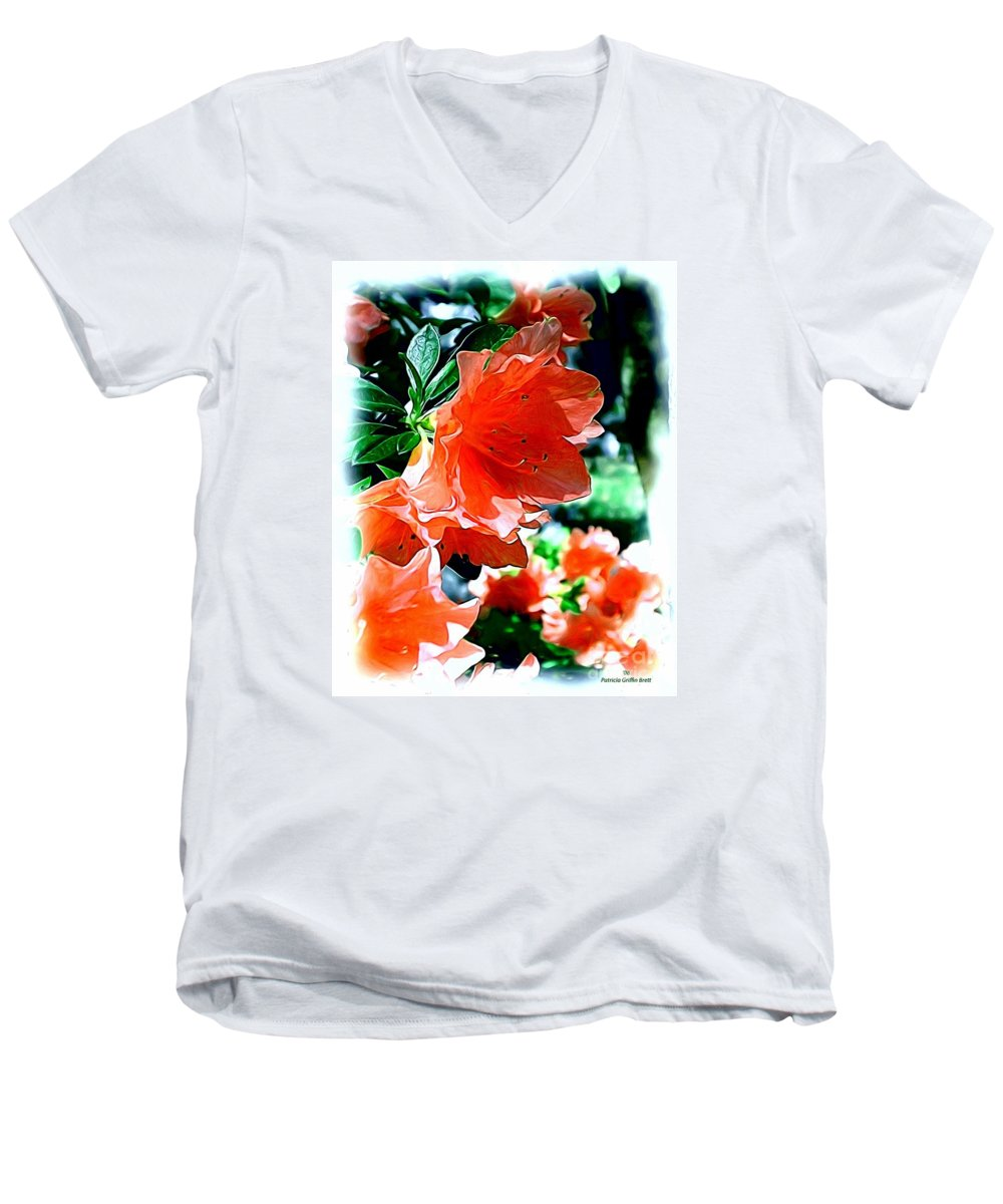 Fine Art Men's V-Neck T-Shirt featuring the painting Azaleas In The Spring by Patricia Griffin Brett