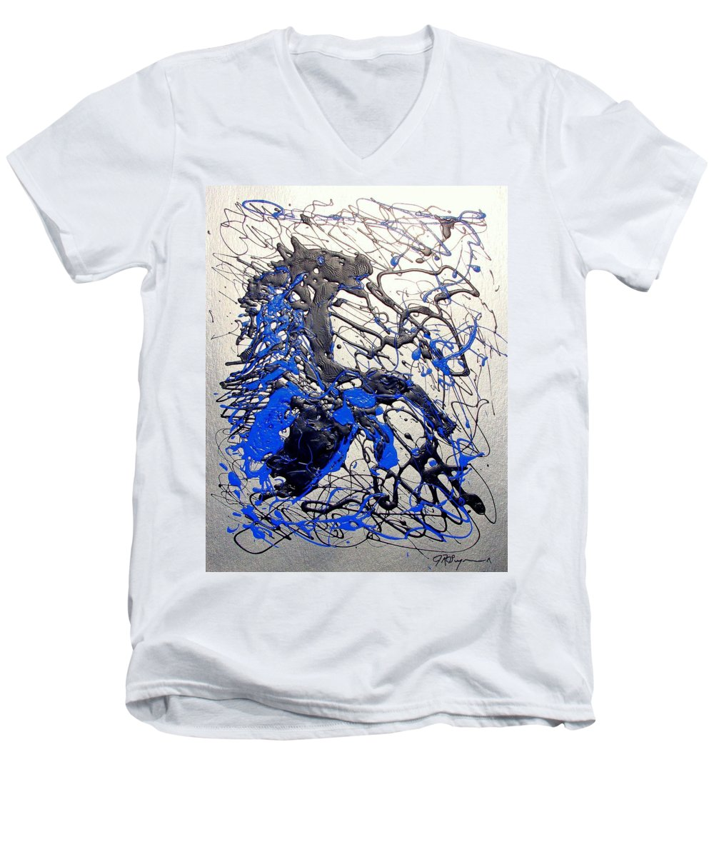 Stallion Horse Men's V-Neck T-Shirt featuring the painting Azul Diablo by J R Seymour