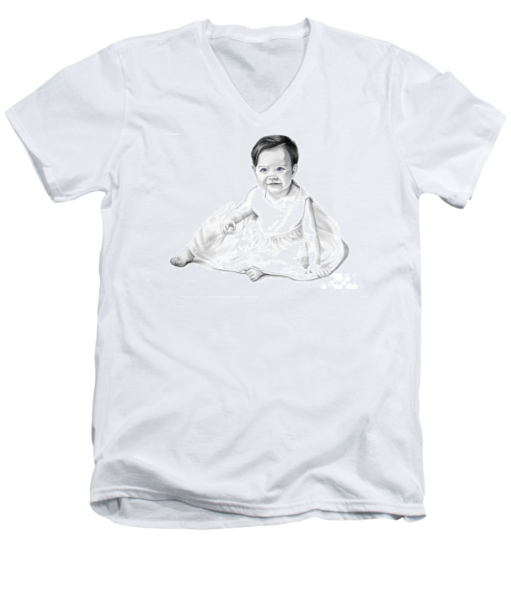 Baby Men's V-Neck T-Shirt featuring the drawing Baby Jane by Murphy Elliott