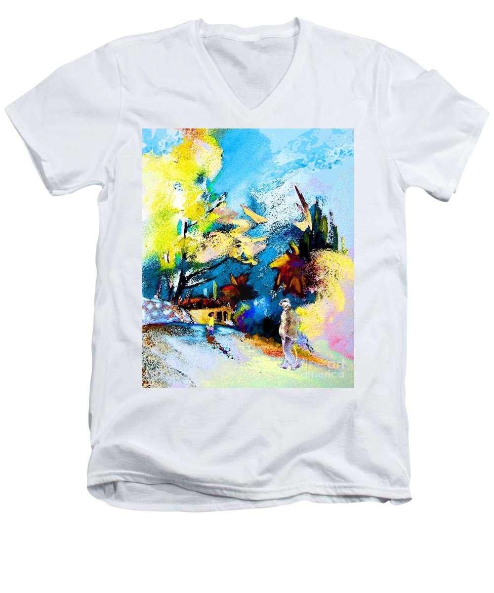 Pastel Painting Men's V-Neck T-Shirt featuring the painting Back Home by Miki De Goodaboom