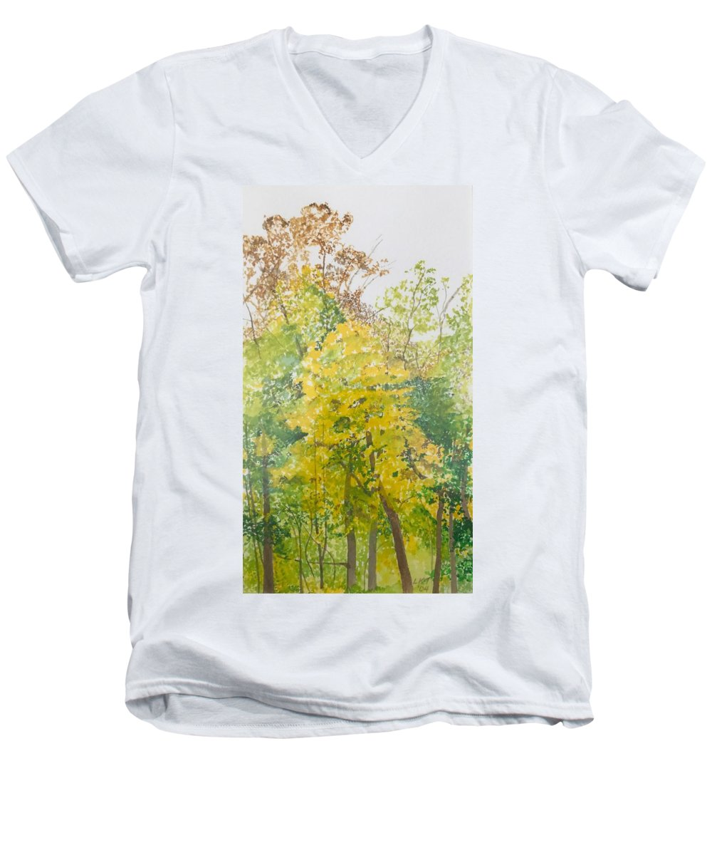 Autumn Men's V-Neck T-Shirt featuring the painting Backyard by Leah Tomaino