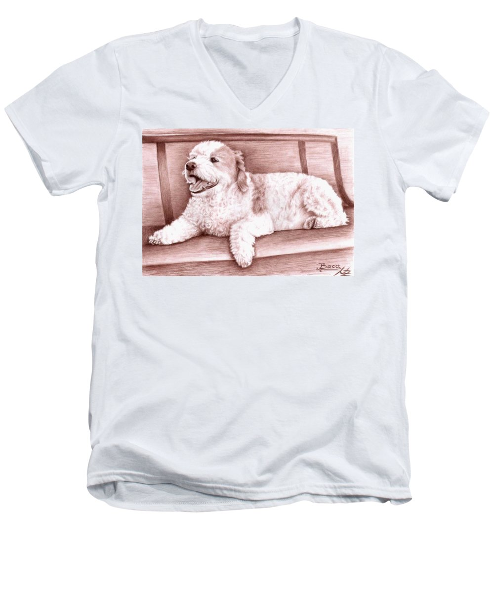 Dog Men's V-Neck T-Shirt featuring the drawing Baco by Nicole Zeug