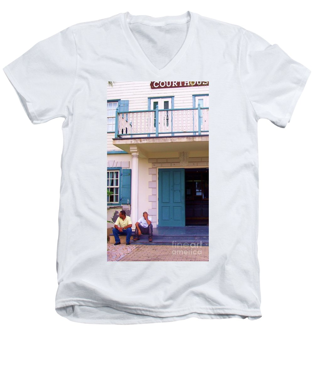 Building Men's V-Neck T-Shirt featuring the photograph Bad Day In Court by Debbi Granruth
