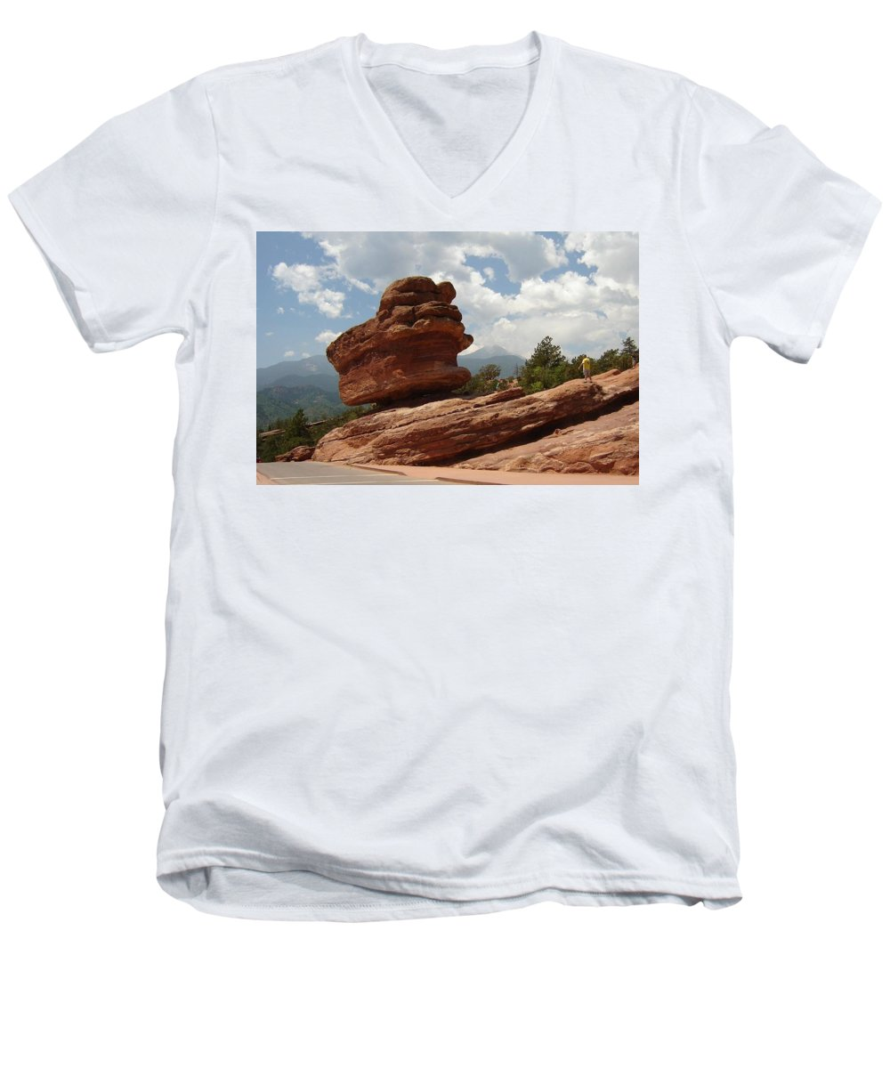 Colorado Men's V-Neck T-Shirt featuring the photograph Balance Rock by Anita Burgermeister