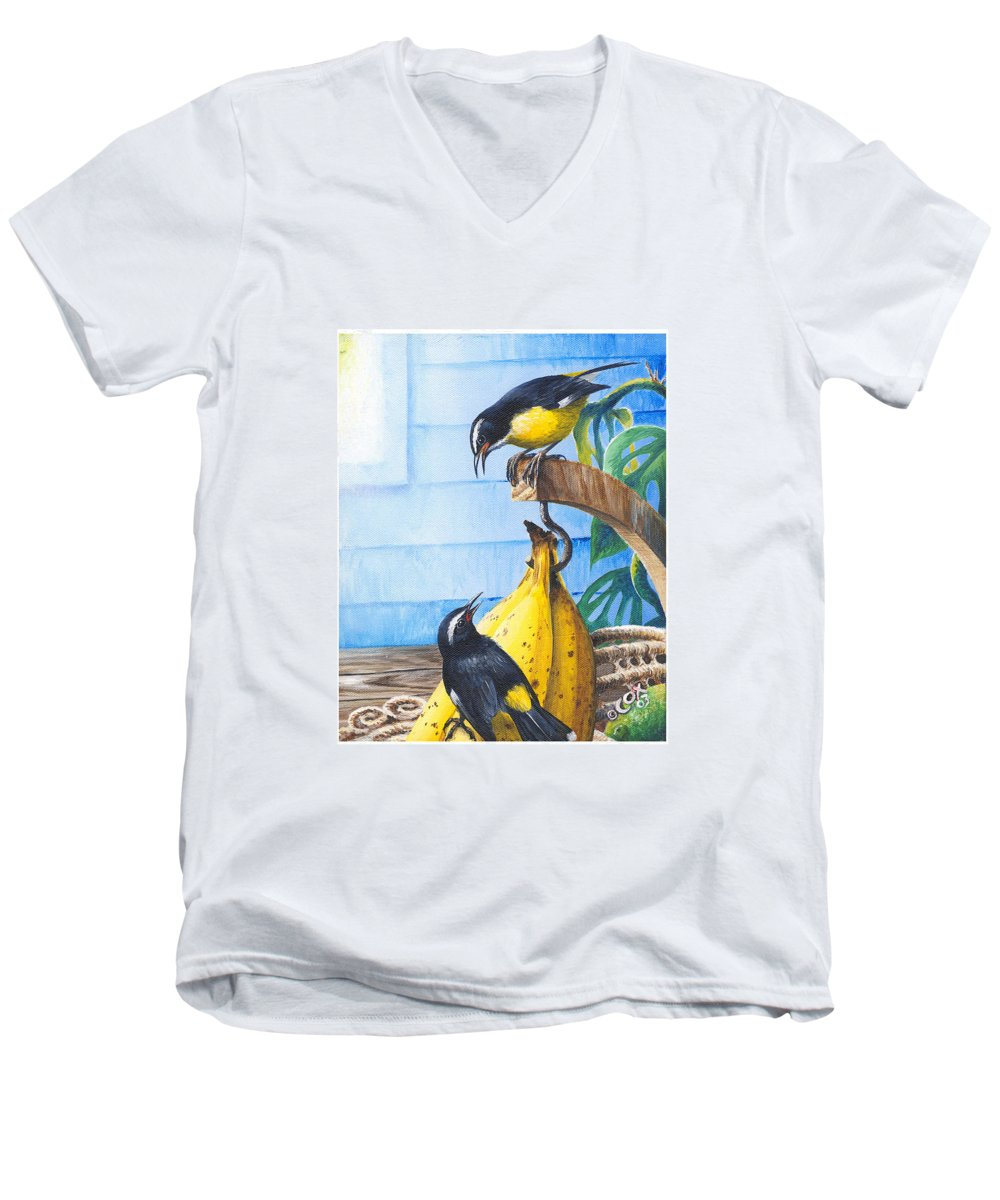 Chris Cox Men's V-Neck T-Shirt featuring the painting Bananaquits And Bananas by Christopher Cox