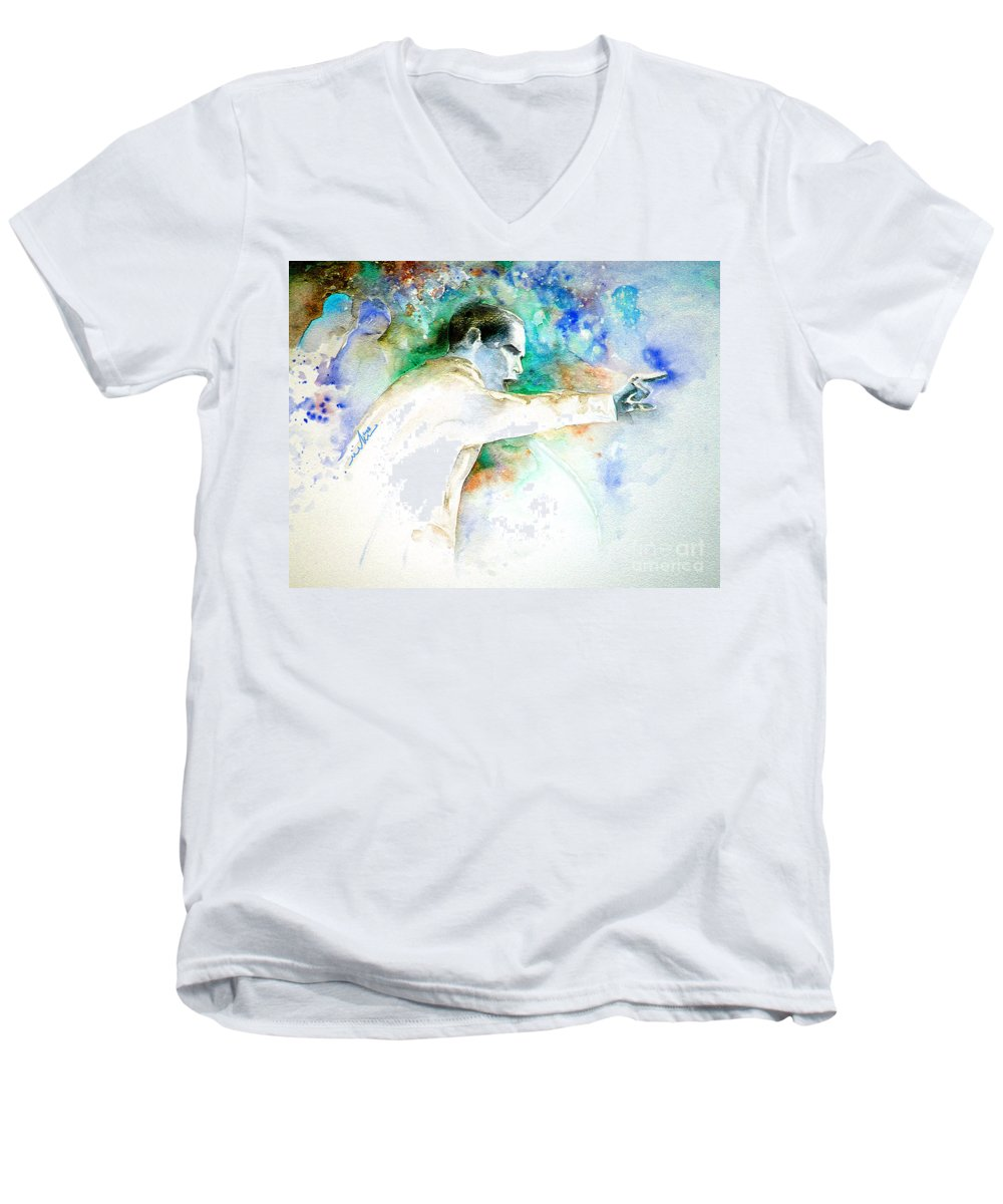 Portrait Barack Obama Men's V-Neck T-Shirt featuring the painting Barack Obama Pointing At You by Miki De Goodaboom
