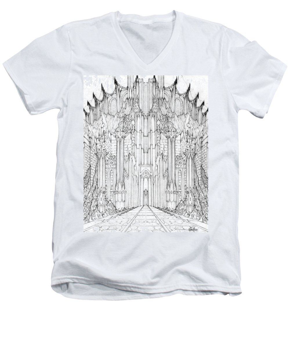 Barad-dur Men's V-Neck T-Shirt featuring the drawing Barad-dur Gate Study by Curtiss Shaffer