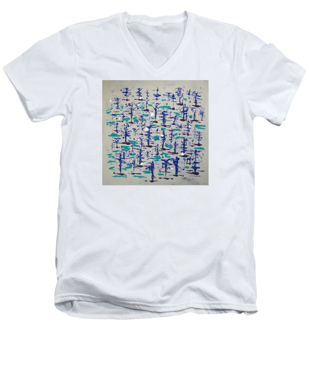 Abstract Men's V-Neck T-Shirt featuring the painting Bare Trees by J R Seymour