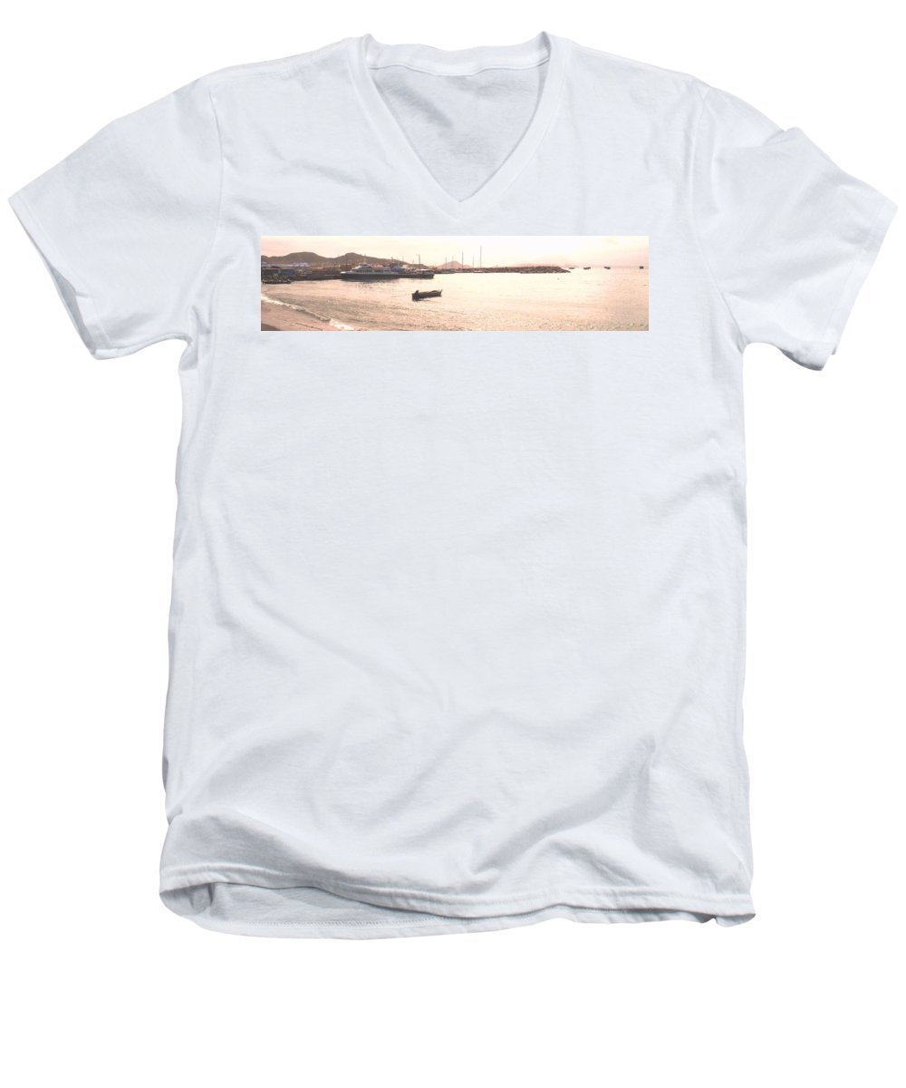 St Kitts Men's V-Neck T-Shirt featuring the photograph Basseterre Harbour by Ian MacDonald