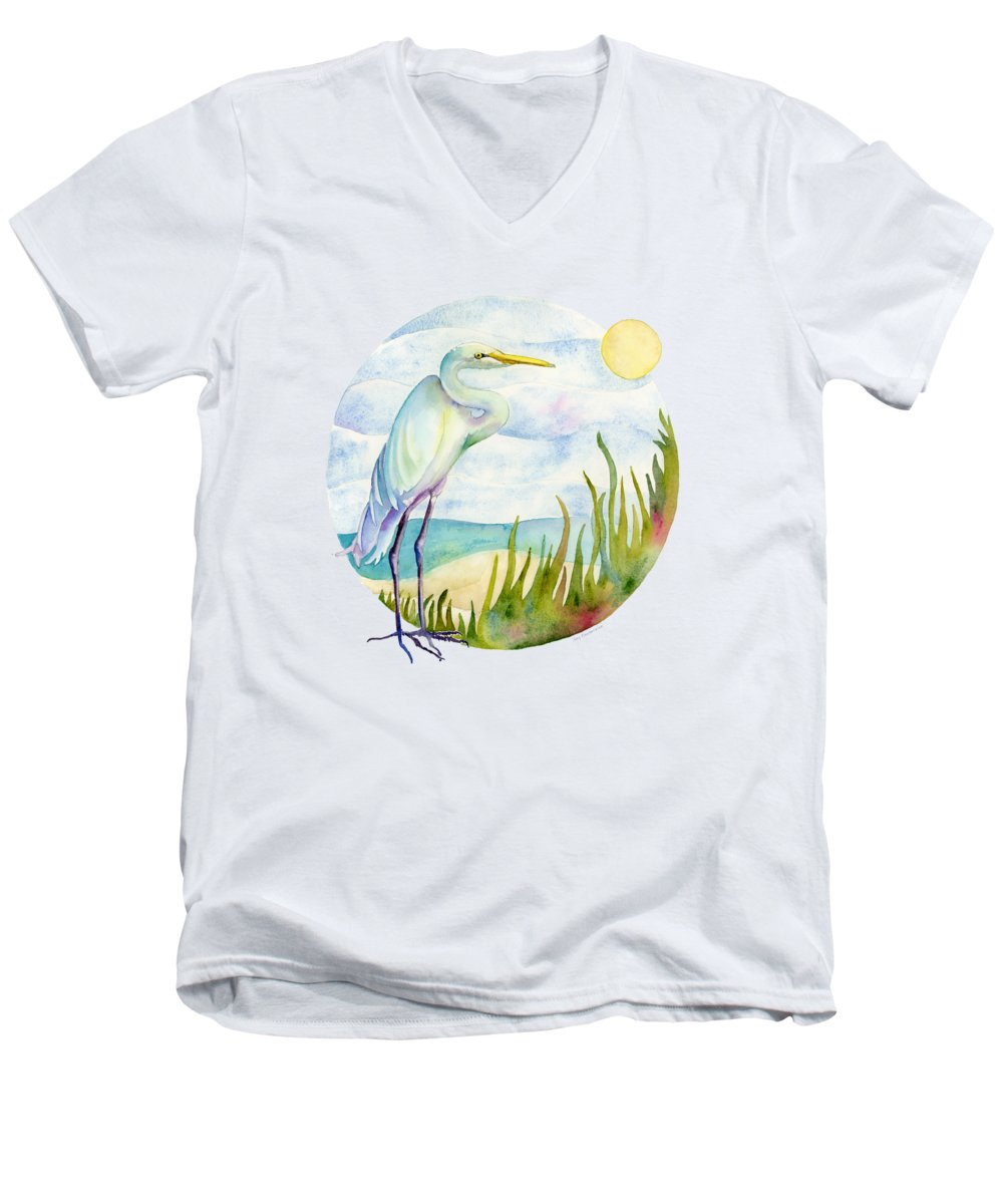 White Bird Men's V-Neck T-Shirt featuring the painting Beach Heron by Amy Kirkpatrick