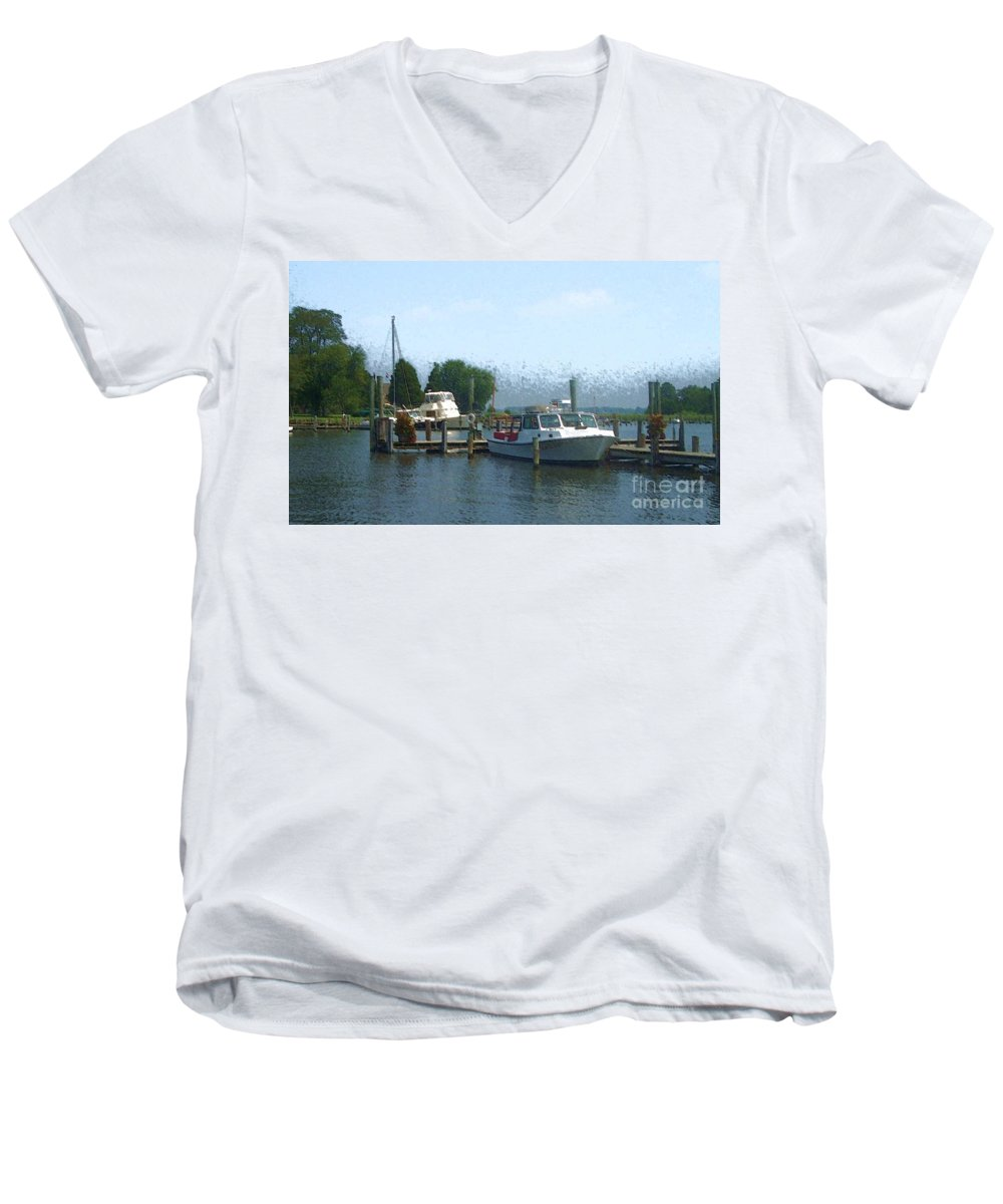 Boat Men's V-Neck T-Shirt featuring the photograph Beached Buoys by Debbi Granruth
