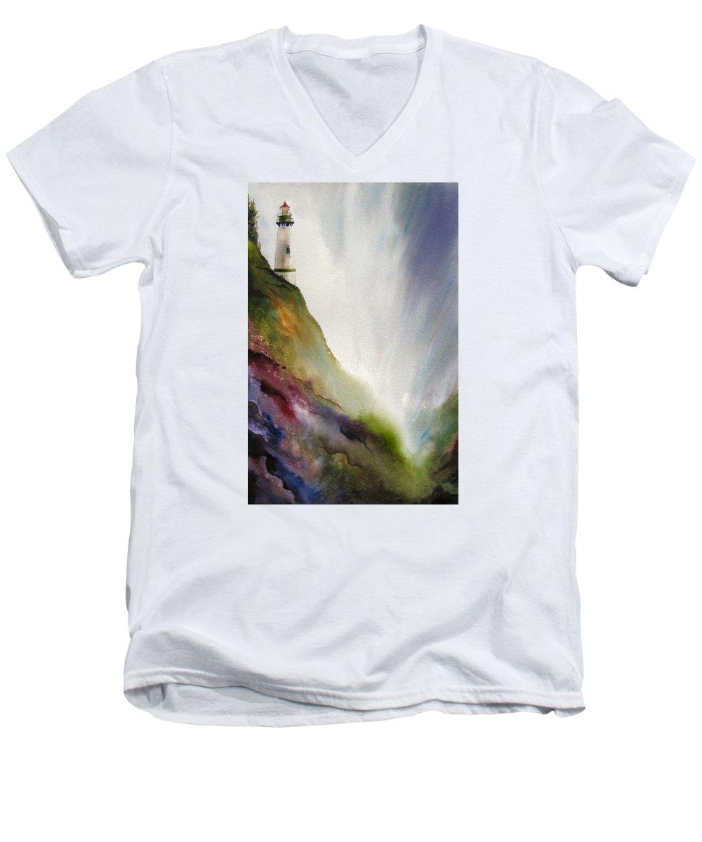 Lighthouse Men's V-Neck T-Shirt featuring the painting Beacon by Karen Stark