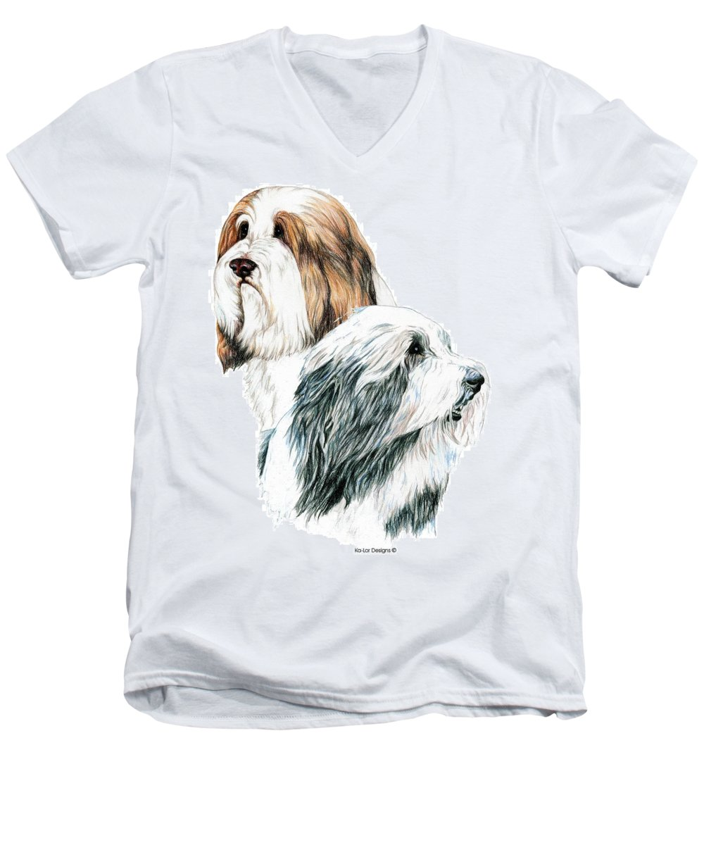 Bearded Collies Men's V-Neck T-Shirt featuring the drawing Bearded Collies by Kathleen Sepulveda
