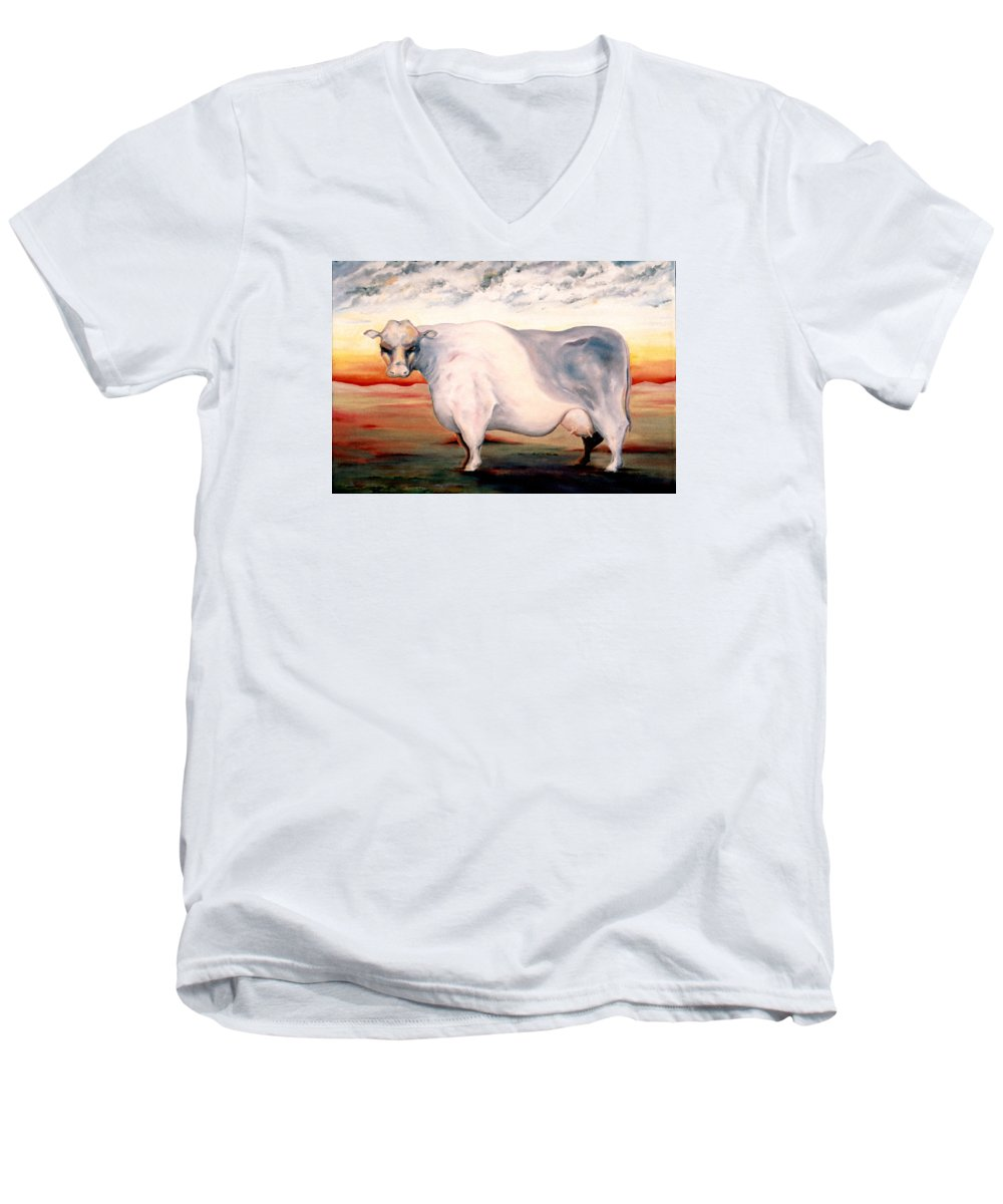 Cow Men's V-Neck T-Shirt featuring the painting Beef Holocaust II by Mark Cawood