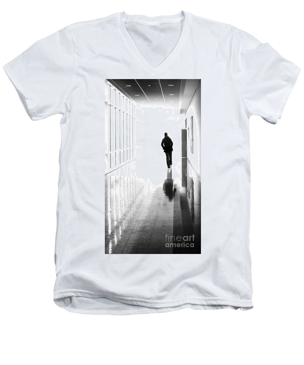 Dipasquale Men's V-Neck T-Shirt featuring the photograph Being Alone Doesnt Mean Youre Free by Dana DiPasquale