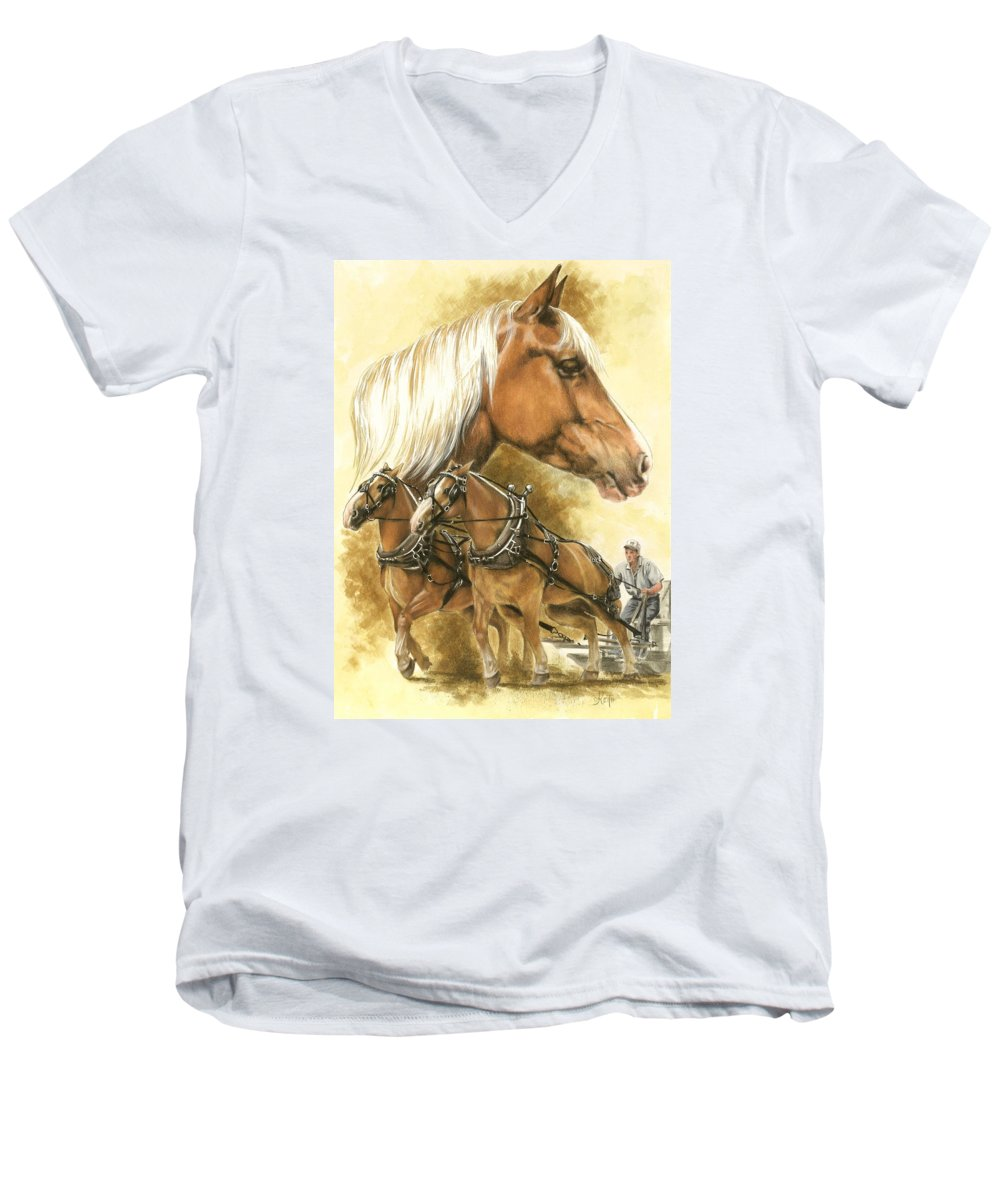 Equus Men's V-Neck T-Shirt featuring the mixed media Belgian by Barbara Keith