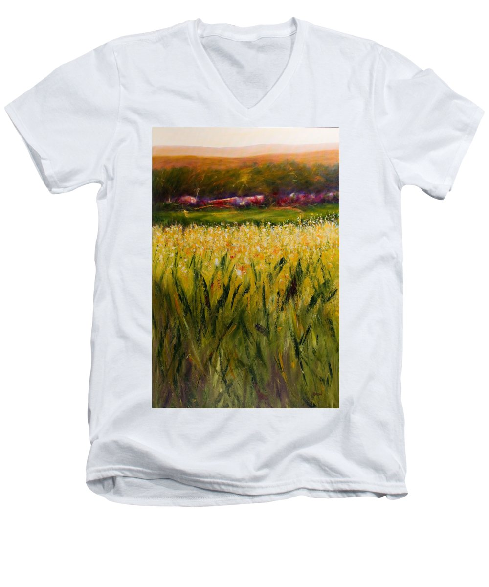 Landscape Men's V-Neck T-Shirt featuring the painting Beyond The Valley by Shannon Grissom