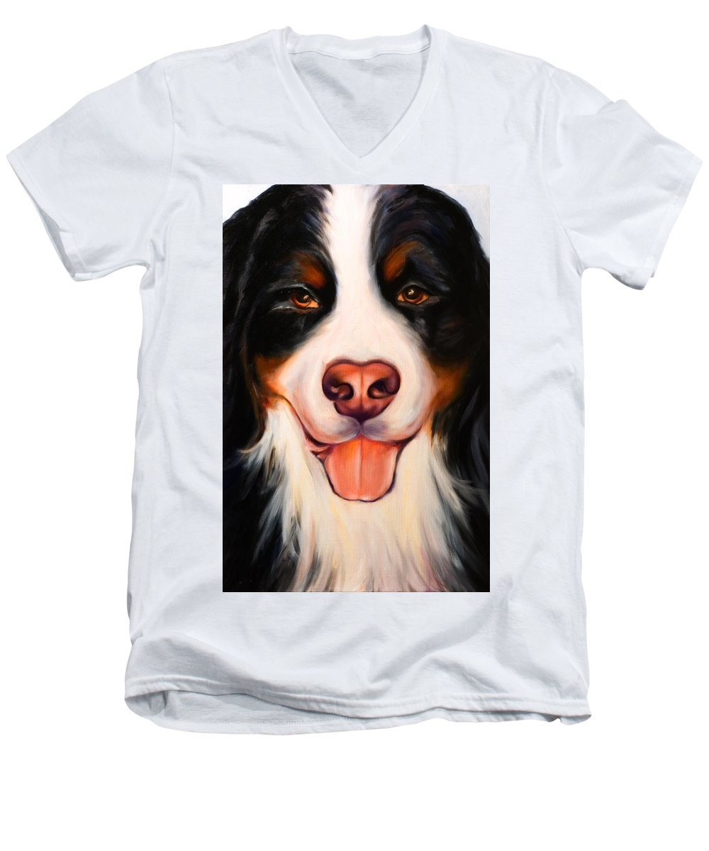Dog Men's V-Neck T-Shirt featuring the painting Big Willie by Shannon Grissom