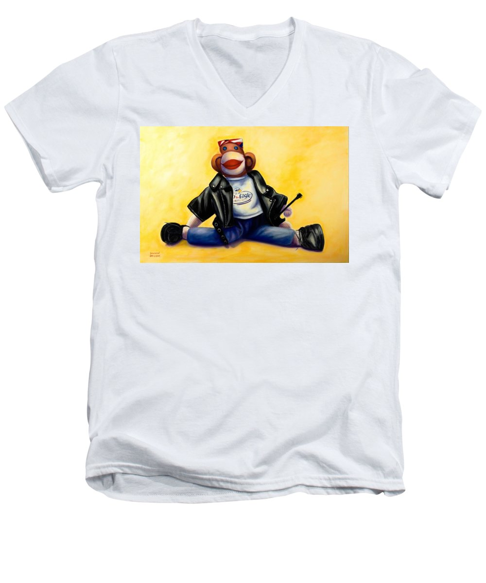 Sock Monkey Brown Men's V-Neck T-Shirt featuring the painting Biker Dude Made Of Sockies by Shannon Grissom
