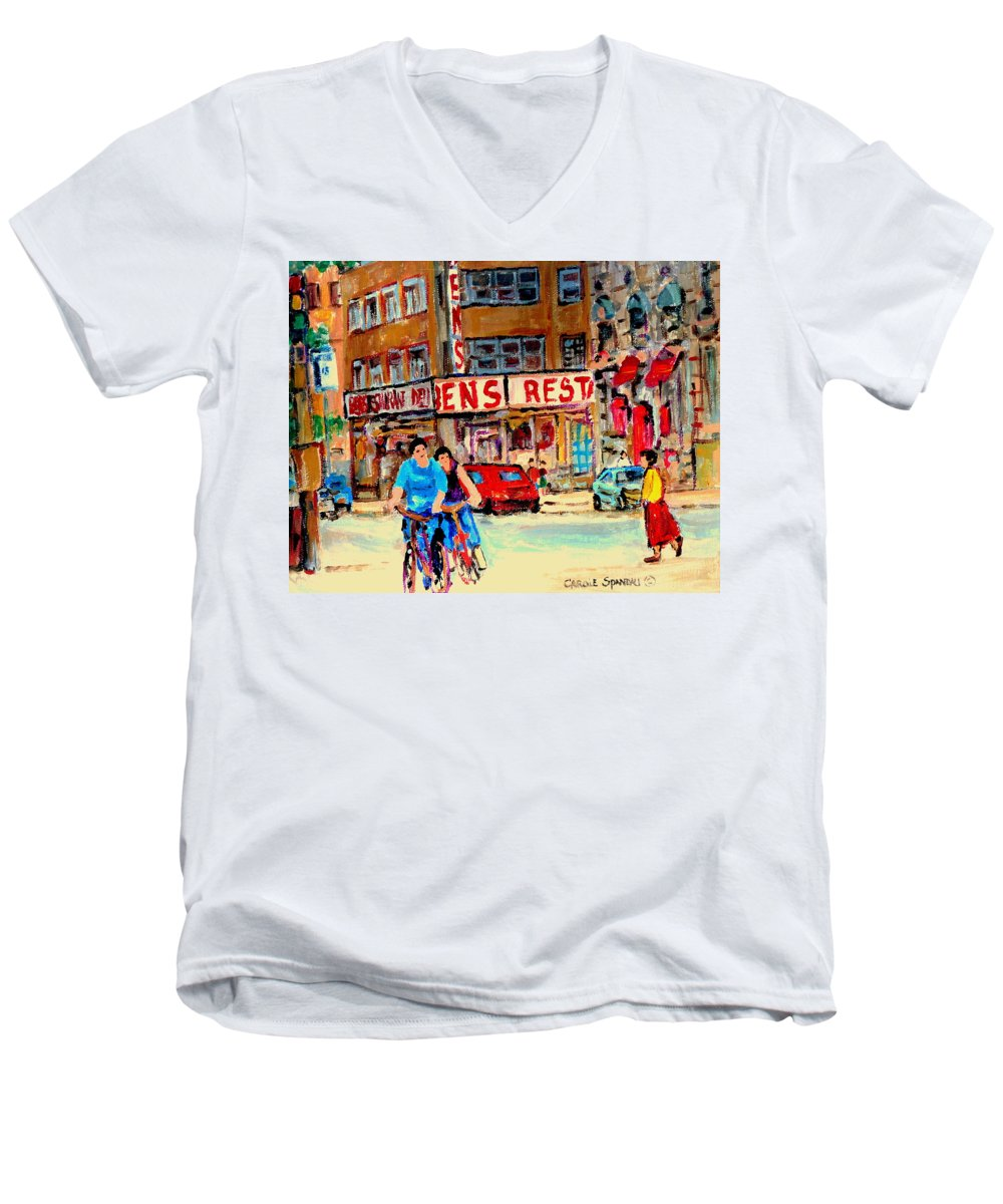 Montreal Men's V-Neck T-Shirt featuring the painting Biking Past Ben by Carole Spandau
