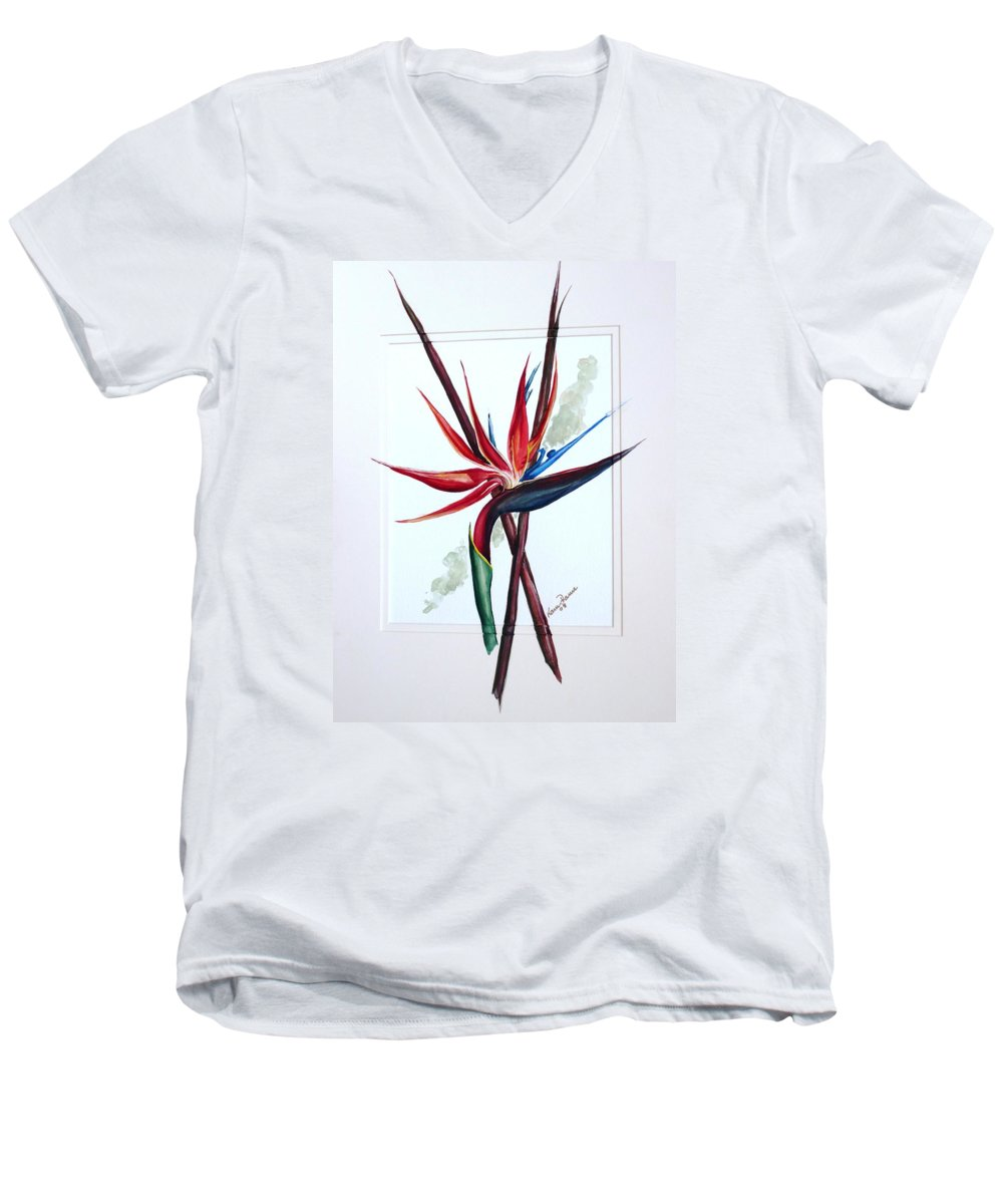 Floral Tropical Caribbean Flower Men's V-Neck T-Shirt featuring the painting Bird Of Paradise Lily by Karin Dawn Kelshall- Best