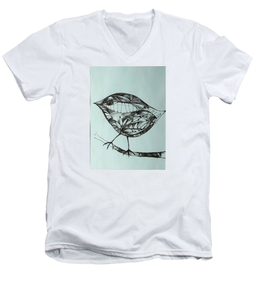 Artwork Men's V-Neck T-Shirt featuring the drawing Bird On A Brench by Cristina Rettegi