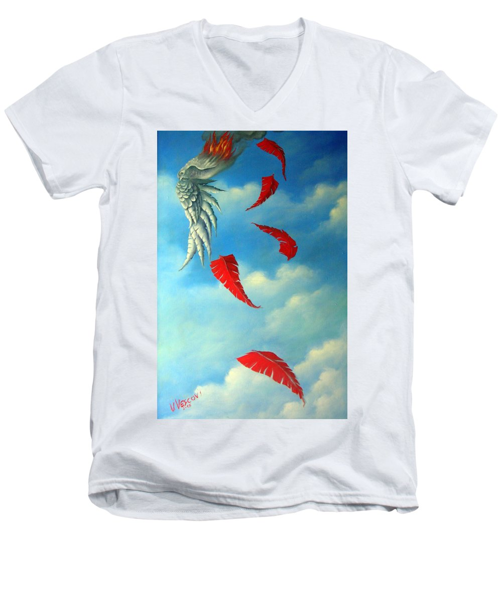 Surreal Men's V-Neck T-Shirt featuring the painting Bird On Fire by Valerie Vescovi