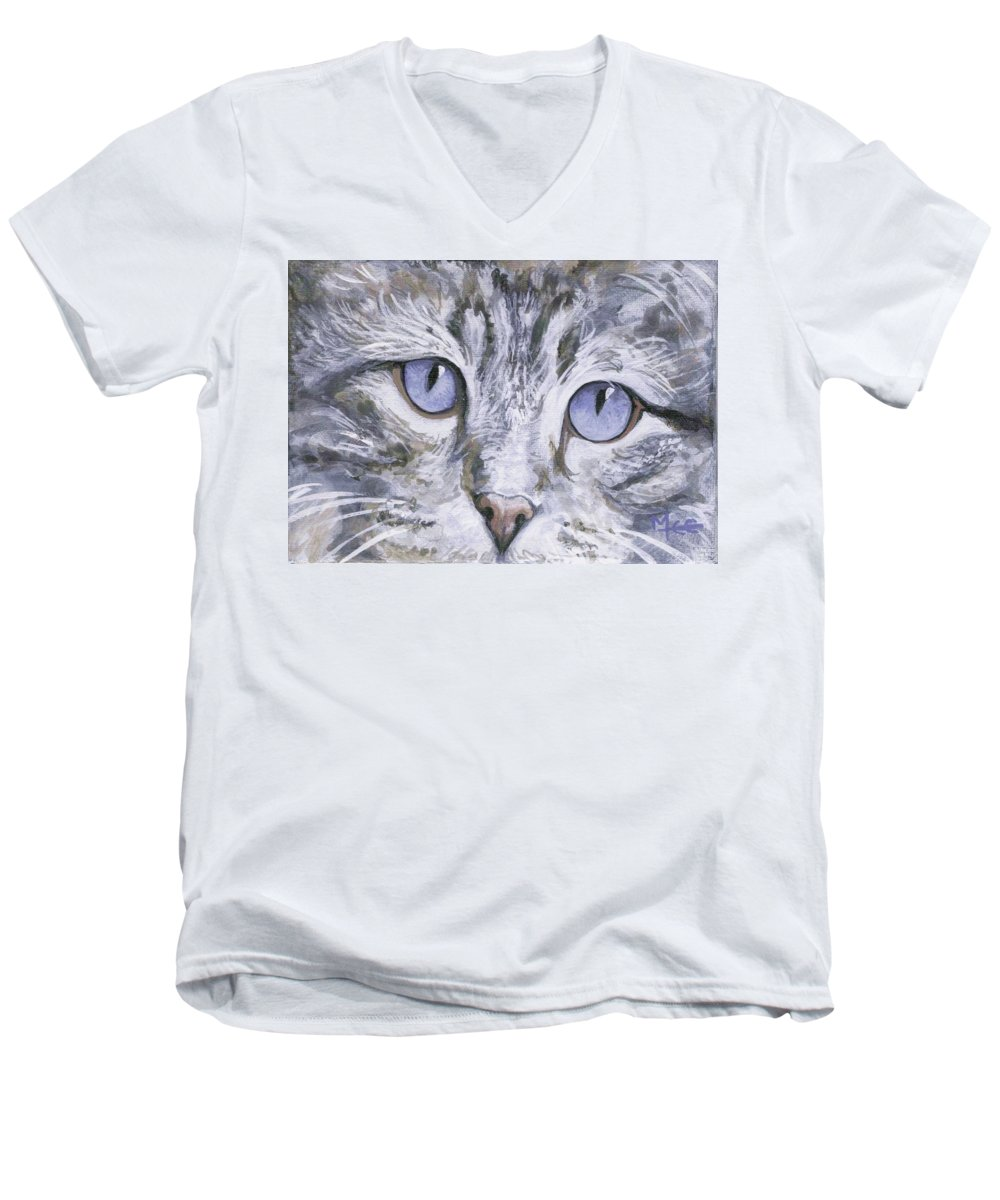 Charity Men's V-Neck T-Shirt featuring the painting Bisous by Mary-Lee Sanders