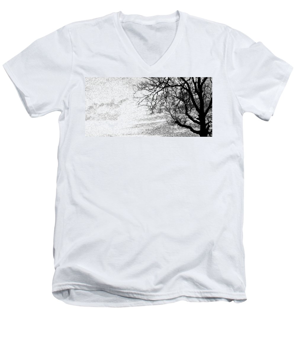 Sky Men's V-Neck T-Shirt featuring the photograph Black Rain by Ed Smith