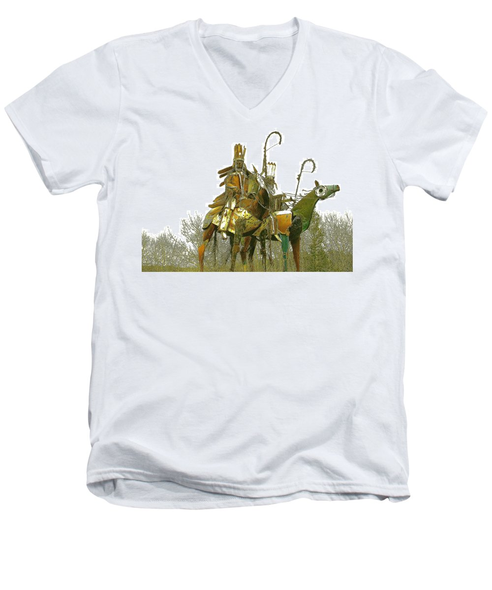 Native American Men's V-Neck T-Shirt featuring the photograph Blackfeet Wariors by Nelson Strong