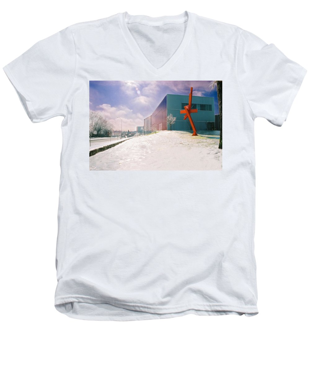 Landscape Men's V-Neck T-Shirt featuring the photograph Bloch Building At The Nelson Atkins Museum by Steve Karol