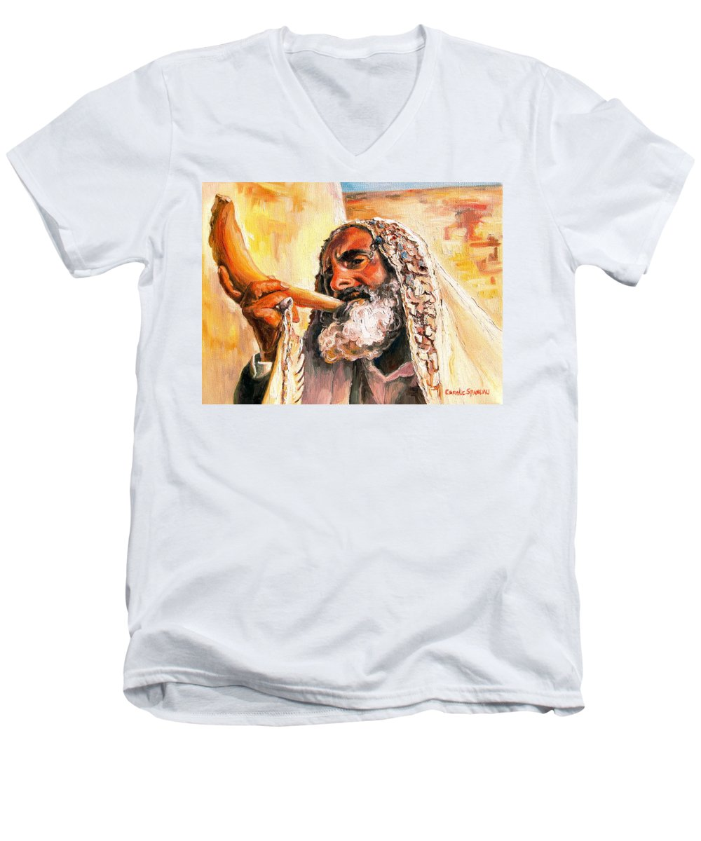 Rabbis Men's V-Neck T-Shirt featuring the painting Blow The Trumpet In Zion by Carole Spandau