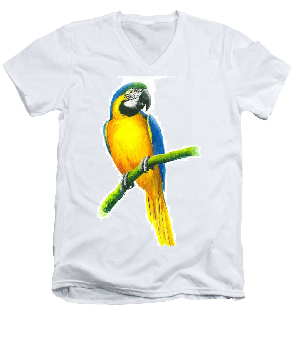Chris Cox Men's V-Neck T-Shirt featuring the painting Blue And Gold Macaw by Christopher Cox
