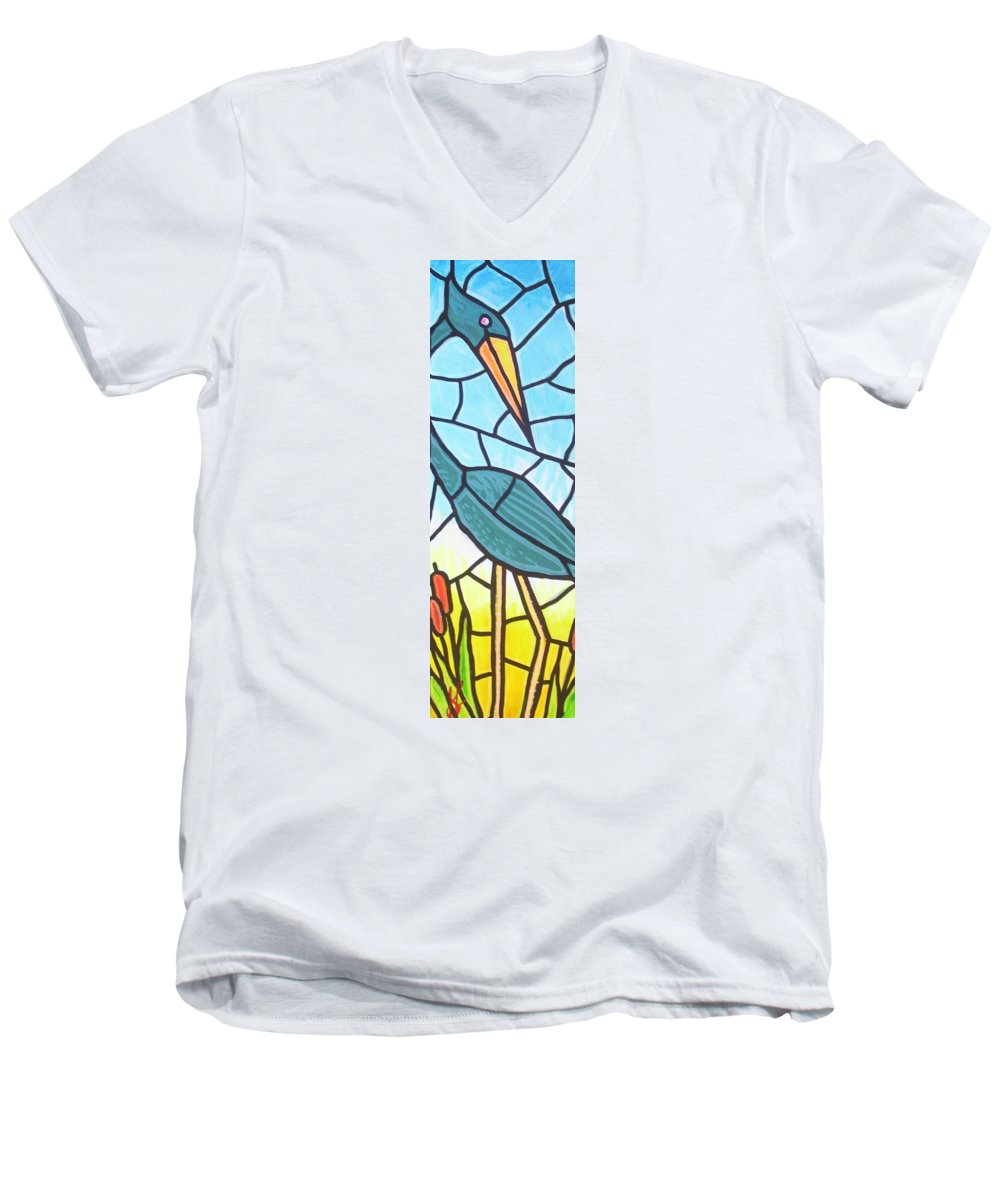 Heron Men's V-Neck T-Shirt featuring the painting Blue Heron by Jim Harris