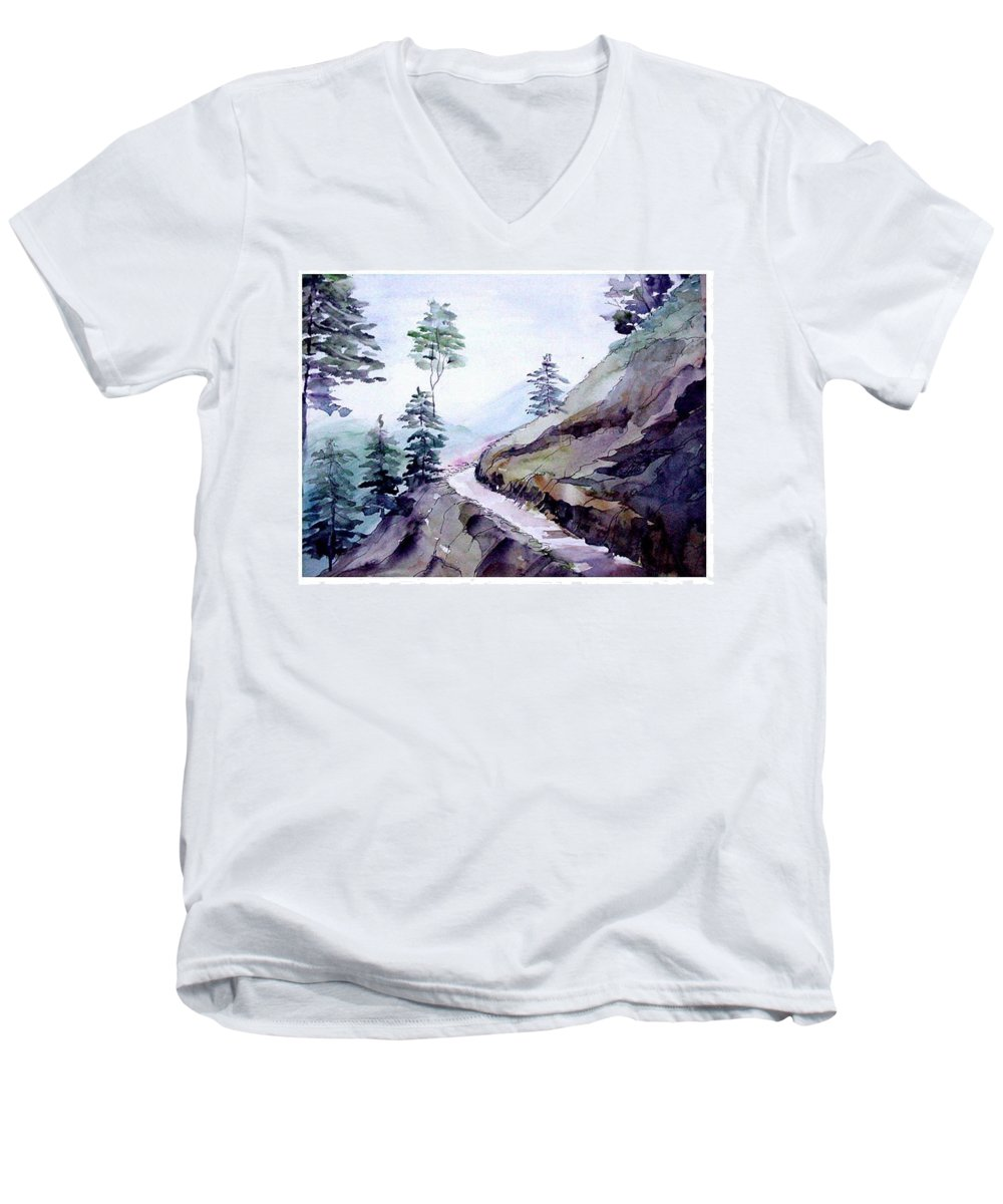 Landscape Men's V-Neck T-Shirt featuring the painting Blue Hills by Anil Nene