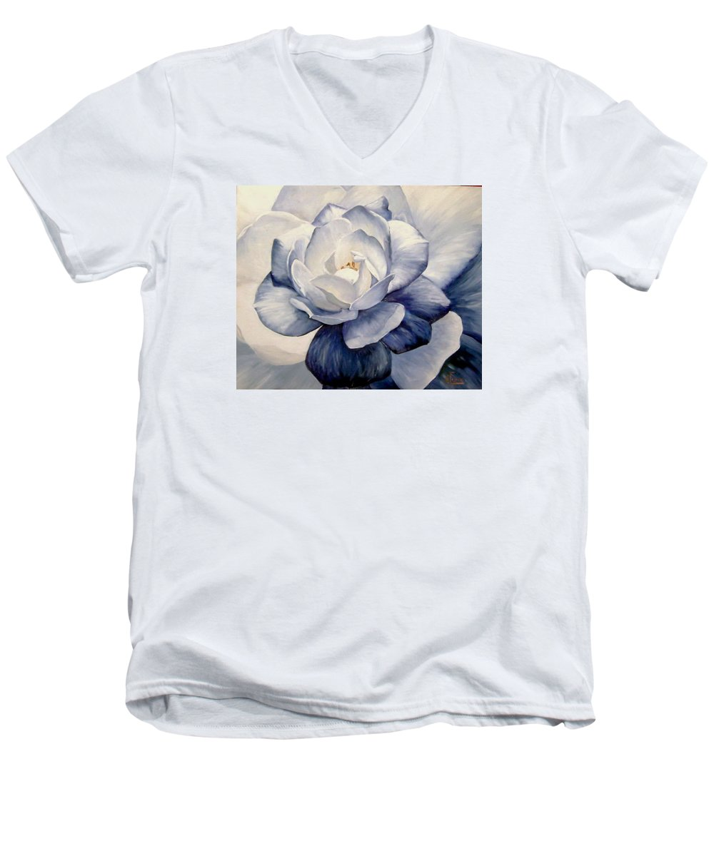 Flower Macro Nature Blue Gardenia Men's V-Neck T-Shirt featuring the painting Blue by Natalia Tejera
