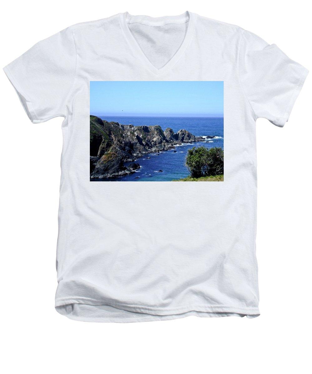 Blue Men's V-Neck T-Shirt featuring the photograph Blue Pacific by Douglas Barnett