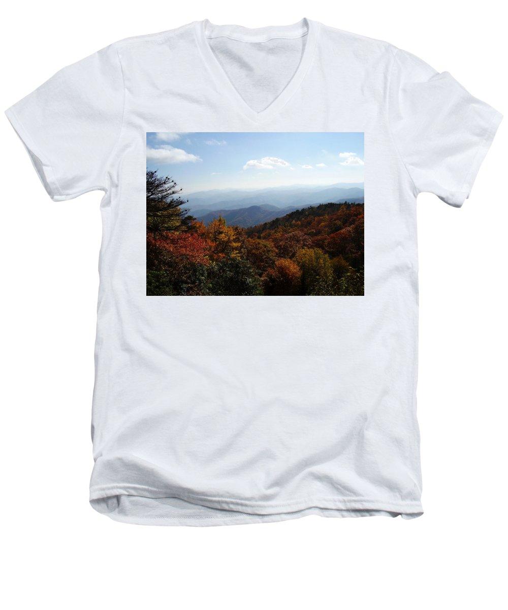 Blue Ridge Mountains Men's V-Neck T-Shirt featuring the photograph Blue Ridge Mountains by Flavia Westerwelle