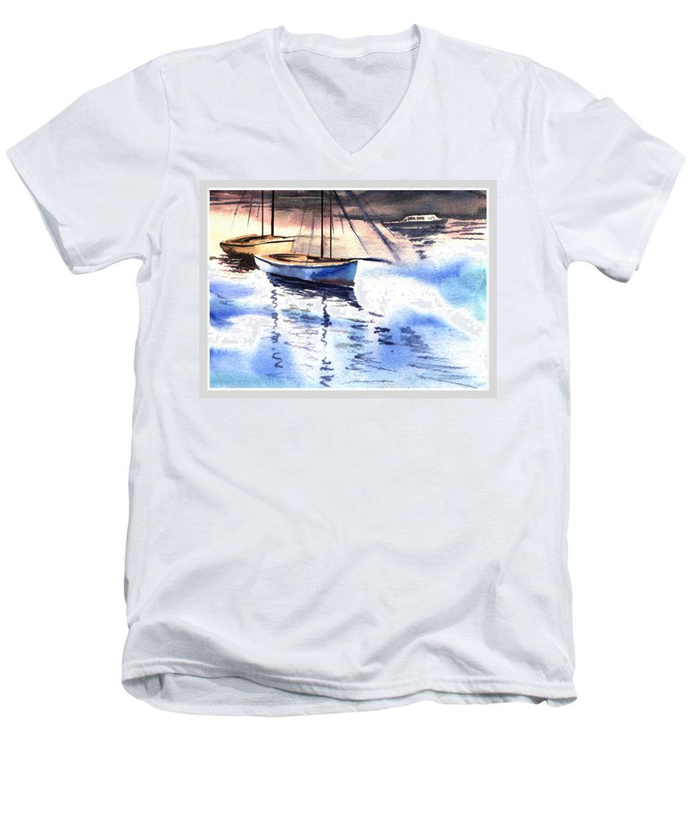 Watercolor Men's V-Neck T-Shirt featuring the painting Boat And The River by Anil Nene